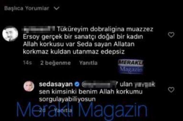 Seda Sayan kendisine 'Edepsiz' diyen erkek takipçisine küfür ederek cevap verdi